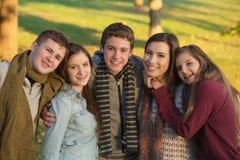 Juventud cinco al aire libre Foto de archivo libre de regalías