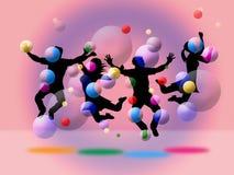 Juventud de Joy Shows Positive Fun And de las burbujas Foto de archivo