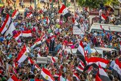 Juventud egipcia que protesta contra la fraternidad musulmán Imagen de archivo libre de regalías