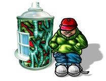 Juventude que está pela casa dos grafittis Fotografia de Stock Royalty Free