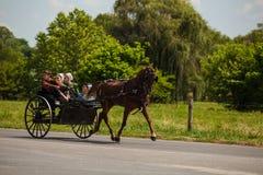 Juventudes de Amish no vagão de 2 rodas imagens de stock