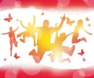 Juventudes de salto del verano abstracto stock de ilustración
