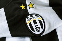 Juventus emblem. Italian football club Juventus emblem on football shirt Royalty Free Stock Images