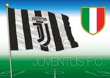 Juventus footbal team flag with Italian shield. Vector illustration, Italy royalty free illustration