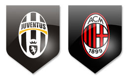 Juventus gegen Mailand Stockfotos