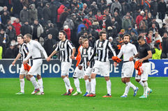 Juventus players greet their fans in the stands Royalty Free Stock Photo