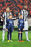 Juventus players listen anthem Royalty Free Stock Images