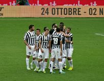Juventus Team Celebrating Match Win Imagens de Stock Royalty Free