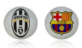 Juventus vs barcelona. Soccer game Stock Photography