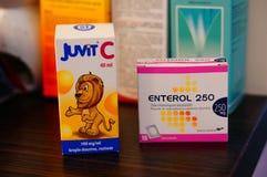 Juvit C and Enterol Stock Photos