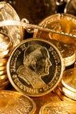 Juvlar och guld- myntar Royaltyfri Fotografi