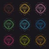 Juweel Diamond Button - Moderne Kleurrijke VectordieCirkelillustratie - op Zwarte Achtergrond wordt geïsoleerd royalty-vrije illustratie