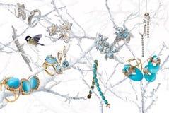 Juwelen auf Schnee Stockbilder