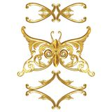 Juwelen in de vorm van een gouden vlinder op een witte achtergrond Stock Foto's