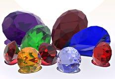 Juwelen, diamant, robijn, Saffier Stock Afbeelding
