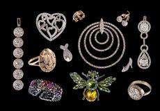 Juwelen die op zwarte worden geïsoleerdm Stock Afbeelding