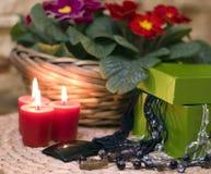 Juwelen en kaarsen Royalty-vrije Stock Afbeelding