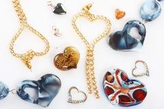 Juwelen in geïsoleerder hartvorm Royalty-vrije Stock Afbeelding