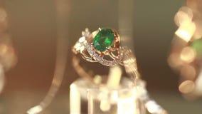 Juwelen met smaragd worden geplaatst die stock footage