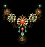 Juwelen met turkoois en jaspis Stock Foto's