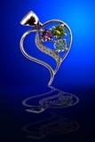 Juwelen op glas Stock Foto's