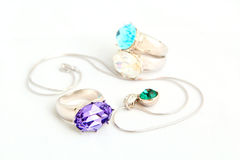 Juwelen op witte achtergrond   Royalty-vrije Stock Fotografie