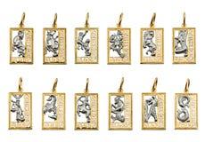 Juwelen - symbolen van de dierenriem stock foto's