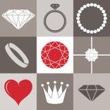 Juweleninzameling. Pictogramreeks Stock Foto