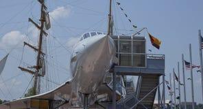 Juxtaposition--Sailing Ship and Supersonic Airship Stock Photo