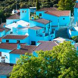 Juzcar, blue Andalusian village in Malaga Stock Images