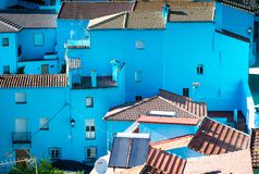 Juzcar, blue Andalusian village in Malaga Royalty Free Stock Image