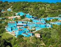 Juzcar, blue Andalusian village in Malaga Royalty Free Stock Photography