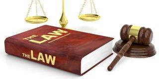 Juzgue el mazo, la escala de la justicia y el libro de ley en el fondo blanco ilustración 3D Imagen de archivo libre de regalías