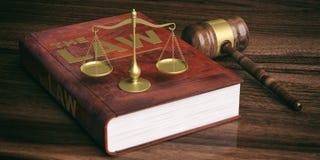 Juzgue el mazo, la escala de la justicia y el libro de ley en fondo de madera ilustración 3D Fotografía de archivo