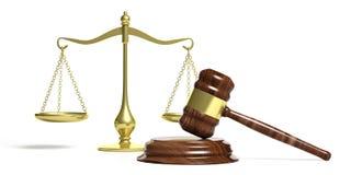 Juzgue la escala de la balanza del mazo y de la justicia en el fondo blanco ilustración 3D Fotos de archivo