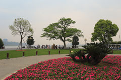 Juzizhoutou park sunset. Juzizhoutou  is located at the southern end of orange sandbar. orange sandbar is located across xiangjiang river in changsha city, is Royalty Free Stock Photos