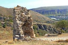 Jvari修道院,乔治亚塔废墟  免版税库存照片