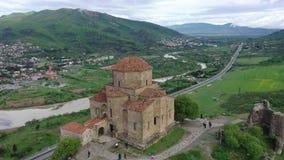 Jvari - Georgian monastery and temple. Located on top of a mountain at the confluence of Kura and Aragvi near Mtskheta. Aerial shooting royalty free stock photos