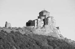 Jvari is a Georgian Orthodox monastery. Black and white. Jvari is a Georgian Orthodox monastery of the 6th century near Mtskheta - most famous symbol of georgiam Stock Image