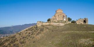 Jvari Monastery in Georgia. Jvari (translated as the Monastery of the Cross) is a Georgian Orthodox monastery of the 6th century near Mtskheta , eastern Georgia Stock Photos