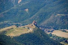 Jvari Monastery (from high) is a sixth century Georgian Orthodo. X monastery near Mtskheta, eastern Georgia. It is listed as a World Heritage site by UNESCO stock photo