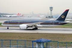 Jy-blaat Royal Jordanian-Luchtvaartlijnen, Boeing 787-8 Dreamliner stock afbeelding