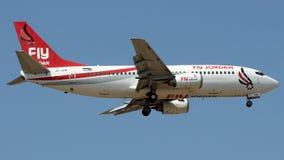 JY-SOB Fly Jordan, Boeing 737-300. JY-SOB is on final approach runway 06 at Istanbul Sabiha Gokcen Airport LTFJ, August 31, 2018 royalty free stock photos