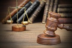 Jydjes Gavel, Legal Code And Scales Of Justice Closeup Royalty Free Stock Photo