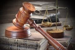 Jydjes Gavel, Legal Code And Scales Of Justice Closeup Stock Images