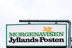 Jyllands Posten sign on a panel. Silkeborg, Denmark - April 9, 2016: Jyllands Posten sign on a panel. Jyllands Posten commonly shortened to JP, is a Danish daily Stock Images