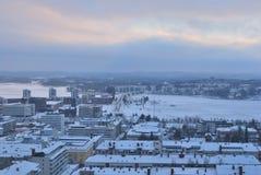 Jyvaskyla,芬兰。 城市的顶视图 免版税库存照片