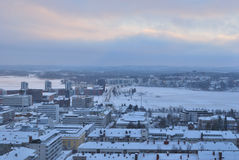 Jyvaskyla, Finland. Top-view of the city. Jyvaskyla, Finland. View of the city from the hill Harju royalty free stock photo