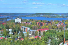 Jyvaskyla, Finland. Top-view of the city from the mountain Harju in a sunny spring day Royalty Free Stock Photos