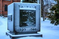 JYVASKYLA, FINLANDIA CIRCA ENERO DE 2009: Monumento de la batalla de Taipale Imagenes de archivo